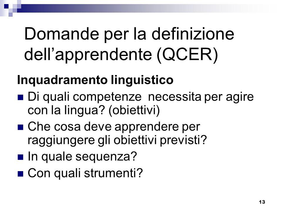 Domande per la definizione dell'apprendente (QCER)