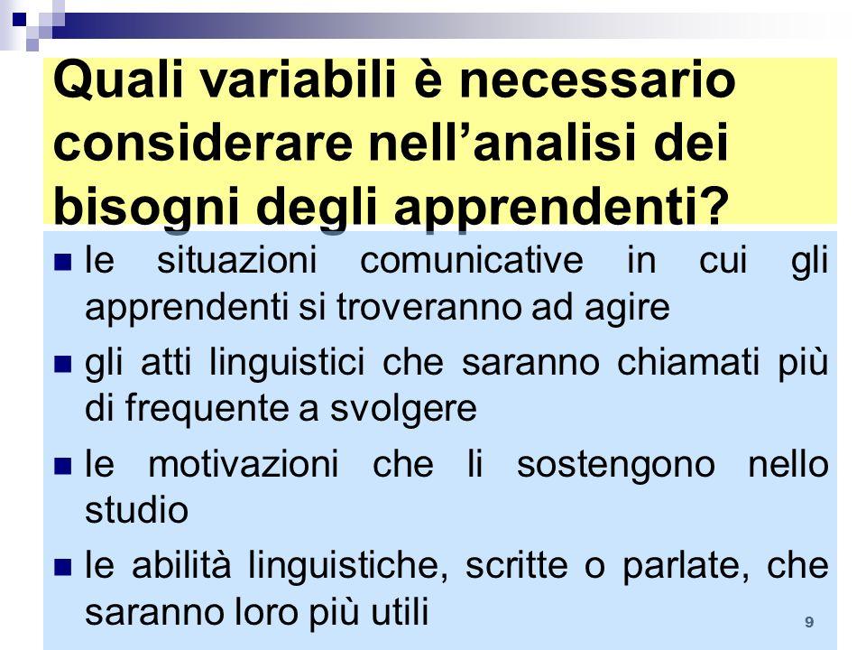 Quali variabili è necessario considerare nell'analisi dei bisogni degli apprendenti