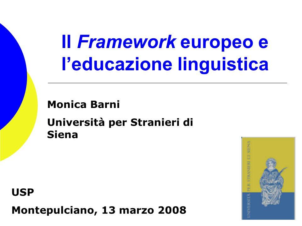 Il Framework europeo e l'educazione linguistica