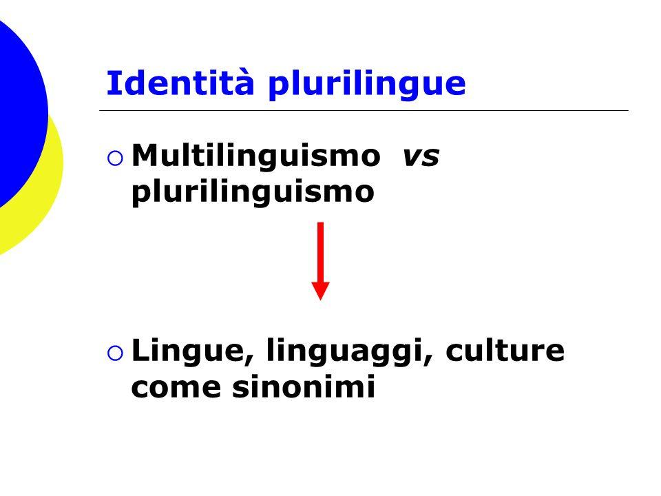 Identità plurilingue Multilinguismo vs plurilinguismo