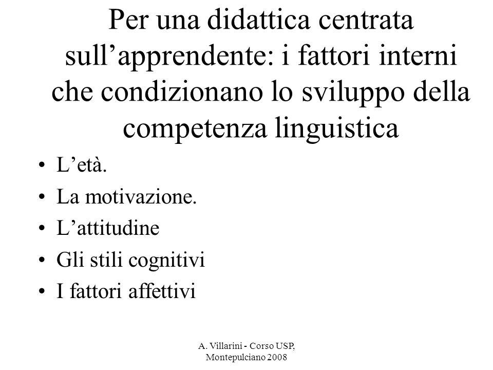 A. Villarini - Corso USP, Montepulciano 2008