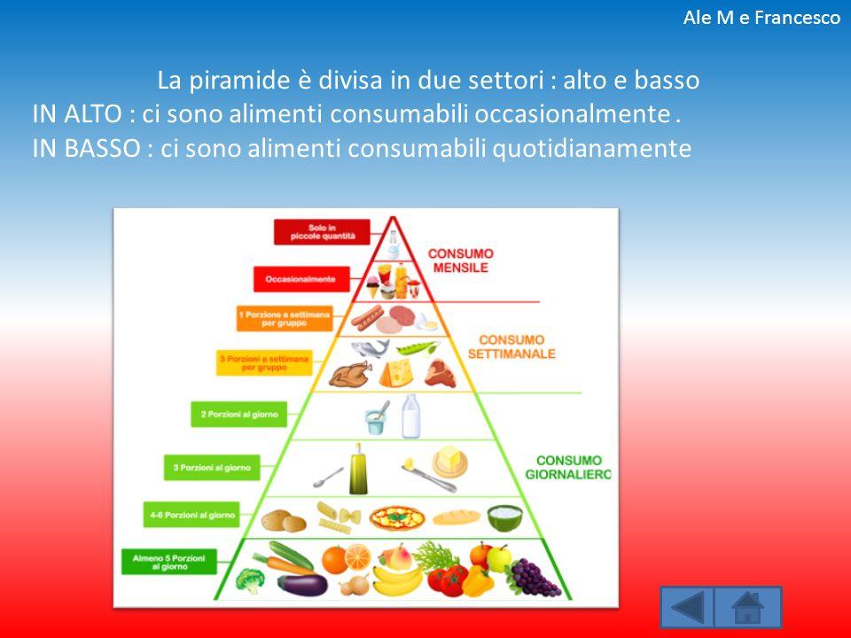 La piramide è divisa in due settori : alto e basso