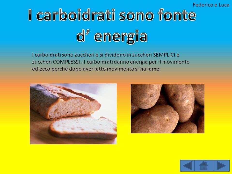 I carboidrati sono fonte