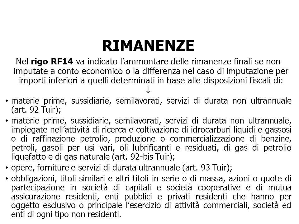 RIMANENZE