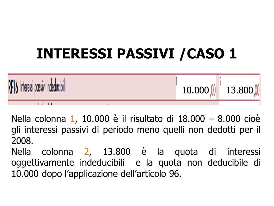 INTERESSI PASSIVI /CASO 1
