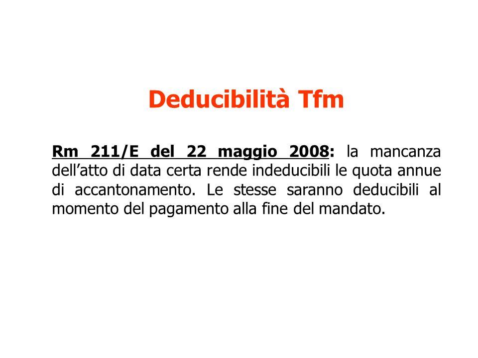 Deducibilità Tfm