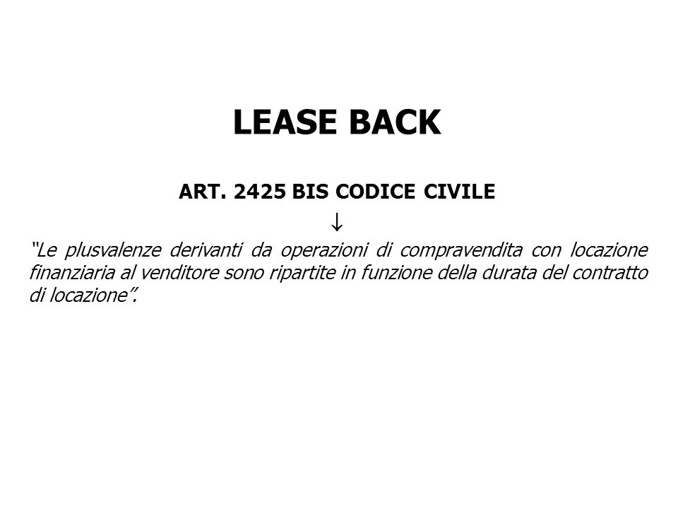 LEASE BACK ART BIS CODICE CIVILE 