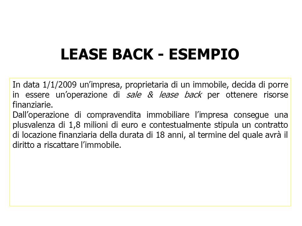 LEASE BACK - ESEMPIO