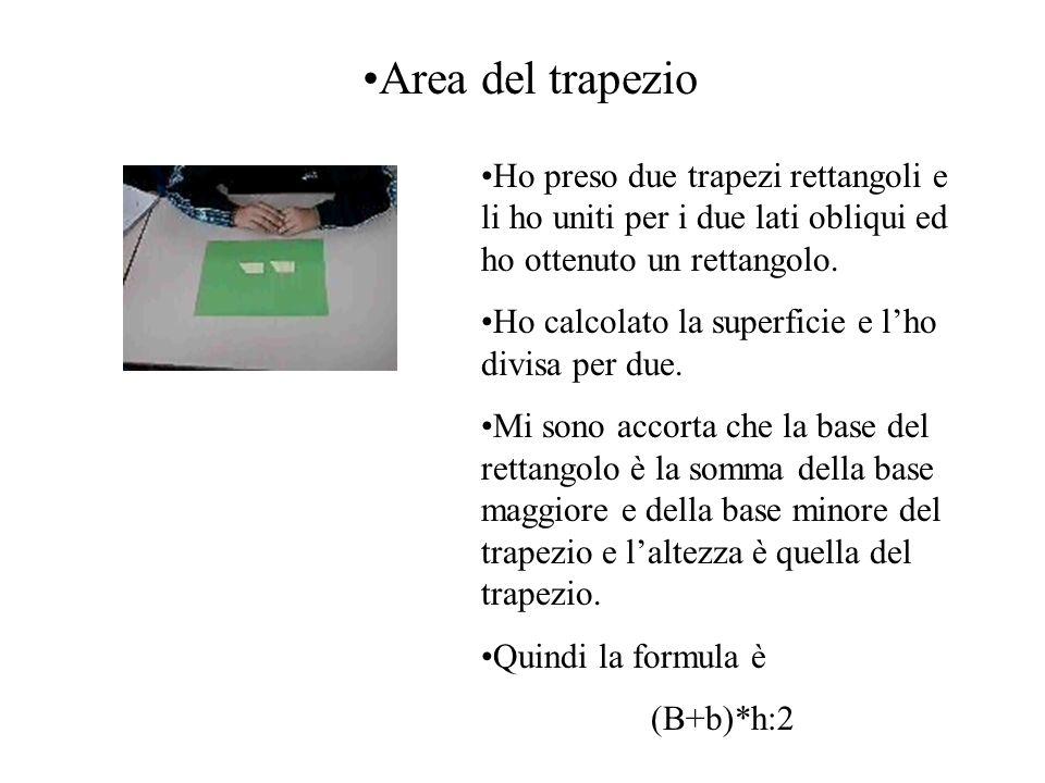 Area del trapezio Ho preso due trapezi rettangoli e li ho uniti per i due lati obliqui ed ho ottenuto un rettangolo.