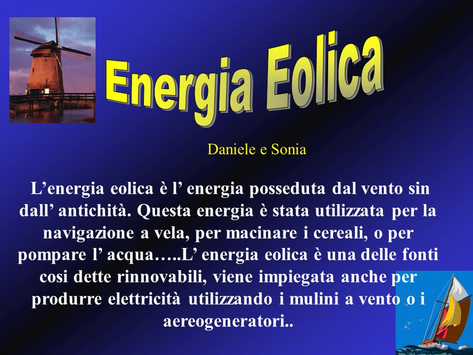 Energia EolicaDaniele e Sonia.