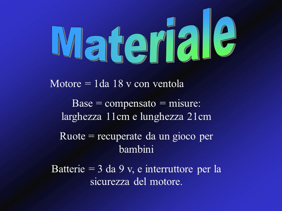 Materiale Motore = 1da 18 v con ventola