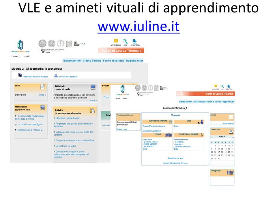 VLE e amineti vituali di apprendimento www.iuline.it