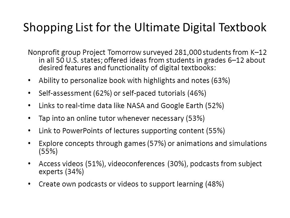 Shopping List for the Ultimate Digital Textbook