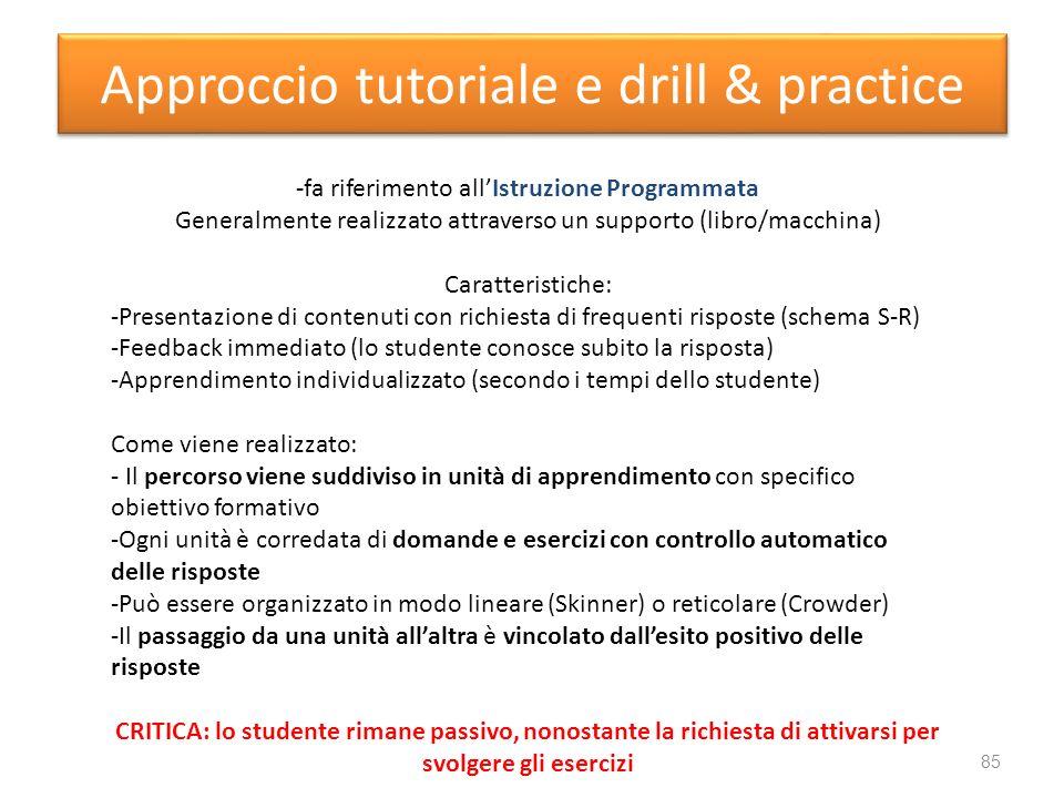 Approccio tutoriale e drill & practice