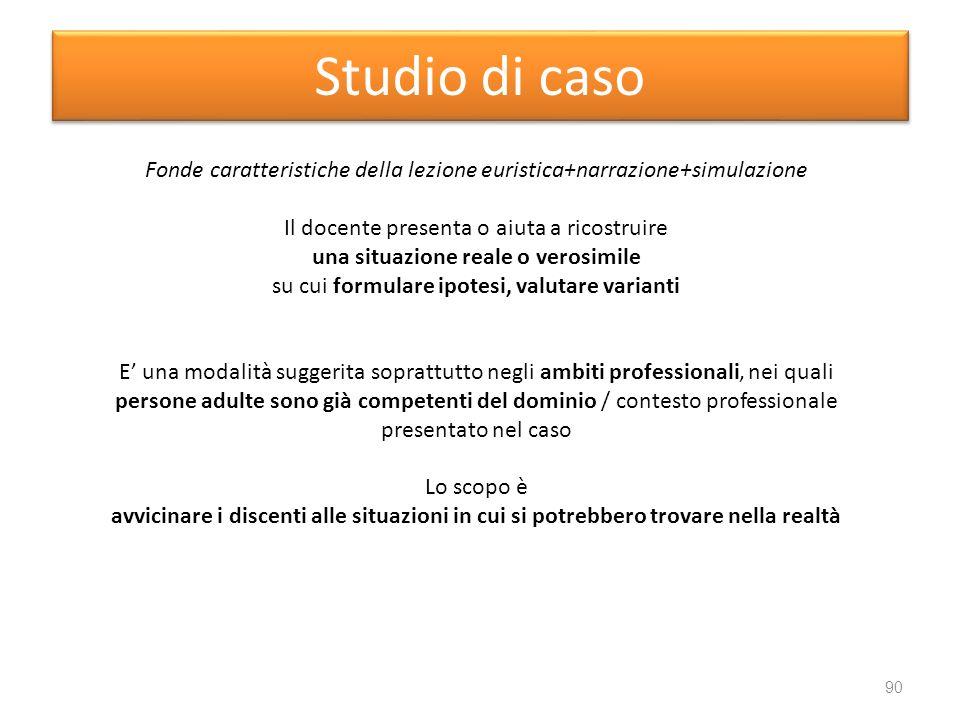 Fonde caratteristiche della lezione euristica+narrazione+simulazione