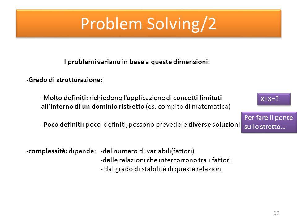 I problemi variano in base a queste dimensioni: