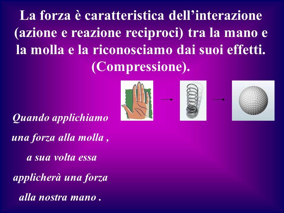 La forza è caratteristica dell'interazione (azione e reazione reciproci) tra la mano e la molla e la riconosciamo dai suoi effetti. (Compressione).