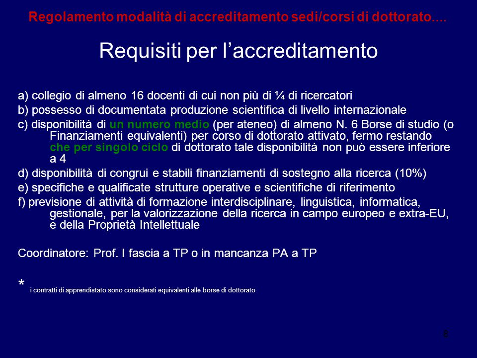 Requisiti per l'accreditamento