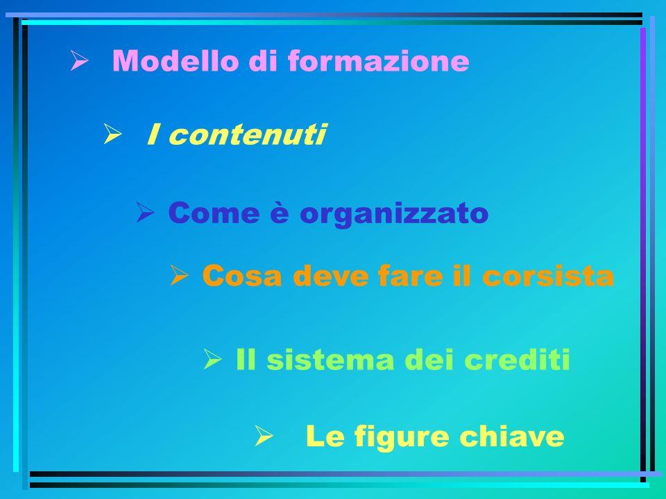 Modello di formazione I contenuti. Come è organizzato. Cosa deve fare il corsista. Il sistema dei crediti.
