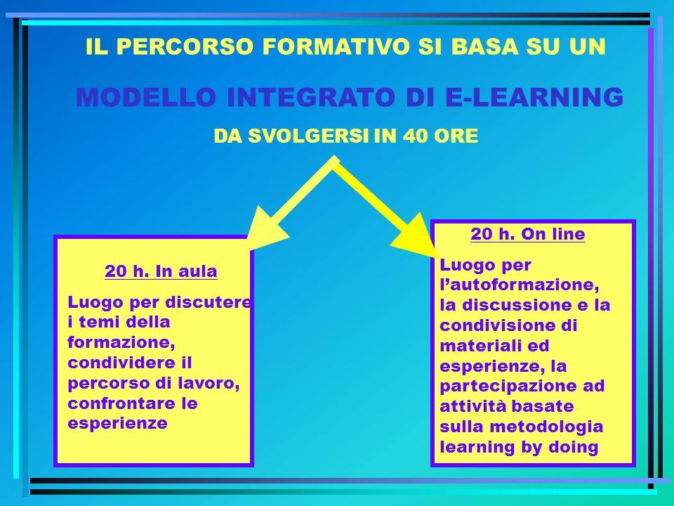 IL PERCORSO FORMATIVO SI BASA SU UN MODELLO INTEGRATO DI E-LEARNING