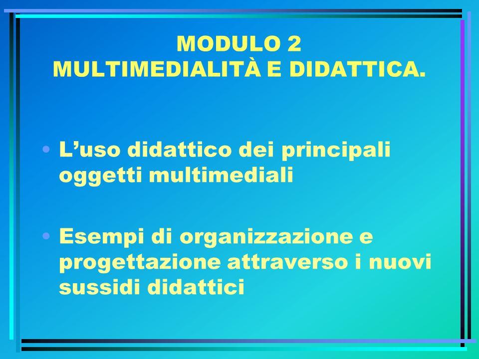 MODULO 2 MULTIMEDIALITÀ E DIDATTICA.