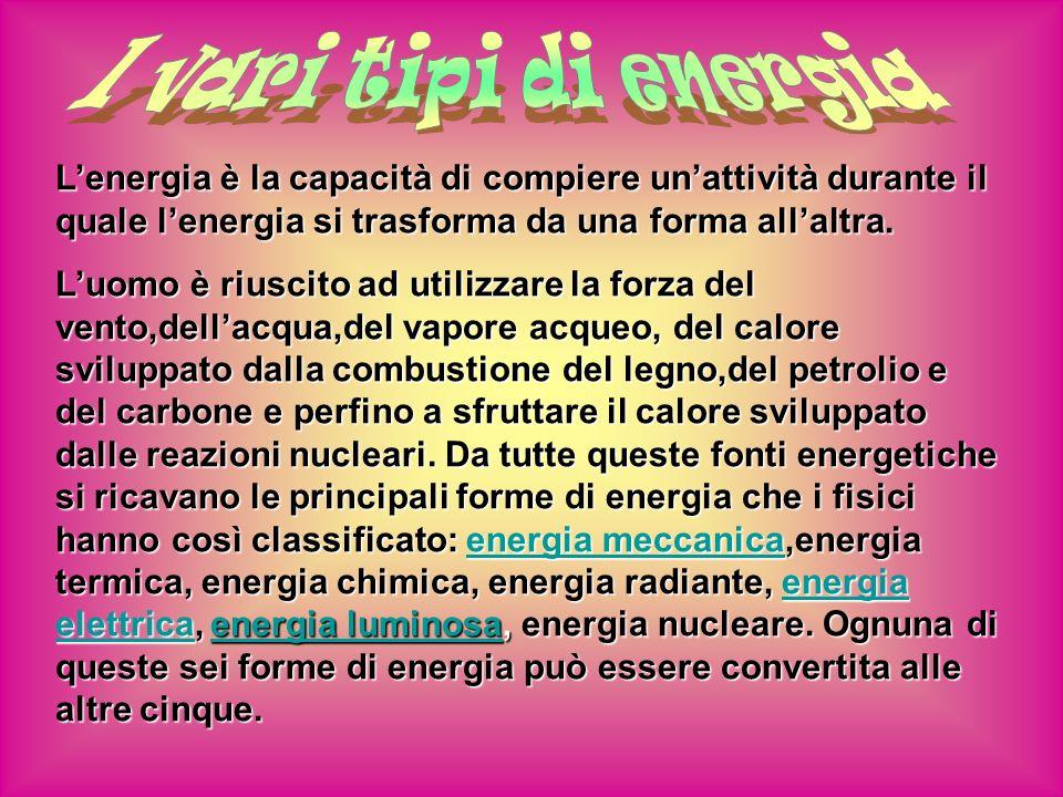 I vari tipi di energia L'energia è la capacità di compiere un'attività durante il quale l'energia si trasforma da una forma all'altra.