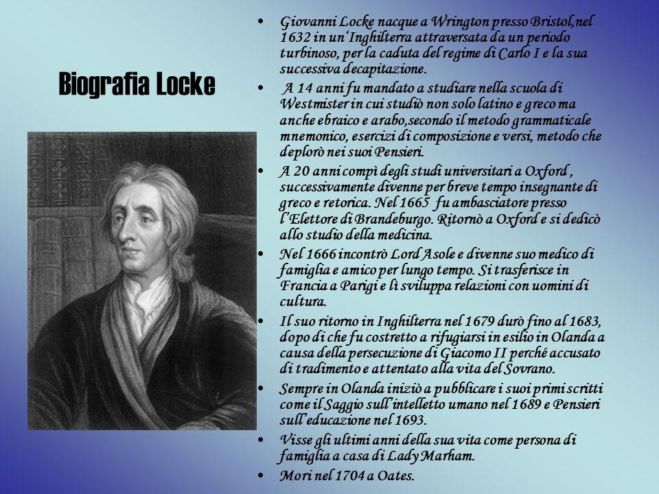 Giovanni Locke nacque a Wrington presso Bristol,nel 1632 in un'Inghilterra attraversata da un periodo turbinoso, per la caduta del regime di Carlo I e la sua successiva decapitazione.
