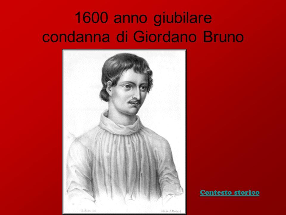 1600 anno giubilare condanna di Giordano Bruno