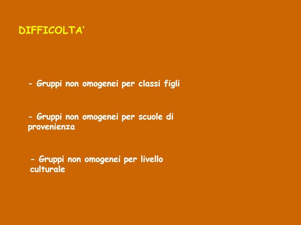 DIFFICOLTA' - Gruppi non omogenei per classi figli