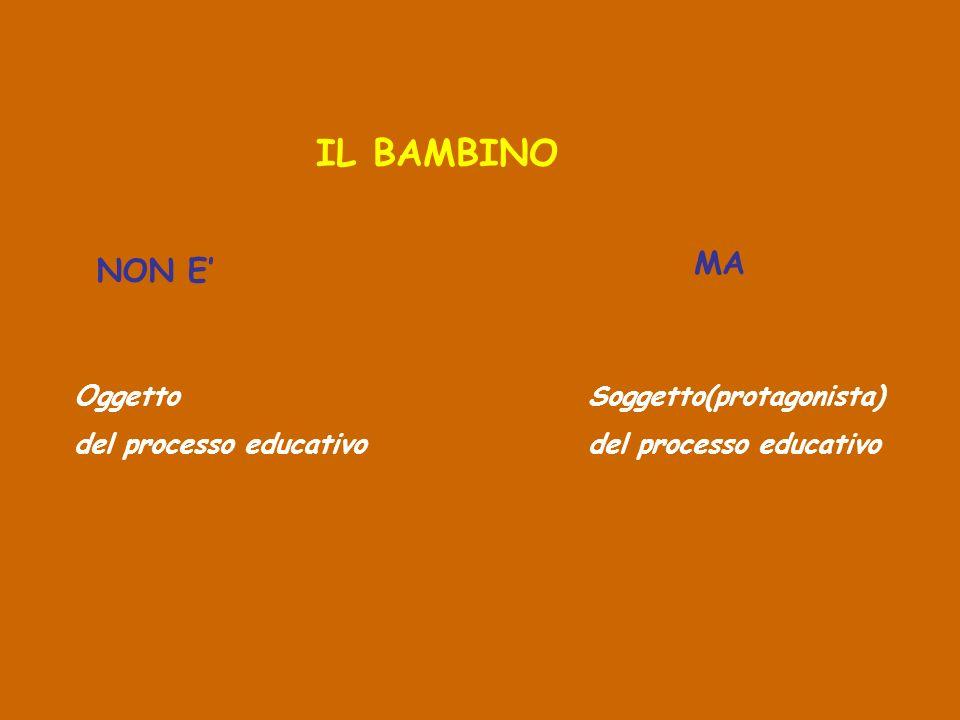 IL BAMBINO MA NON E' Oggetto del processo educativo