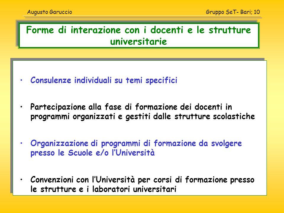 Forme di interazione con i docenti e le strutture universitarie