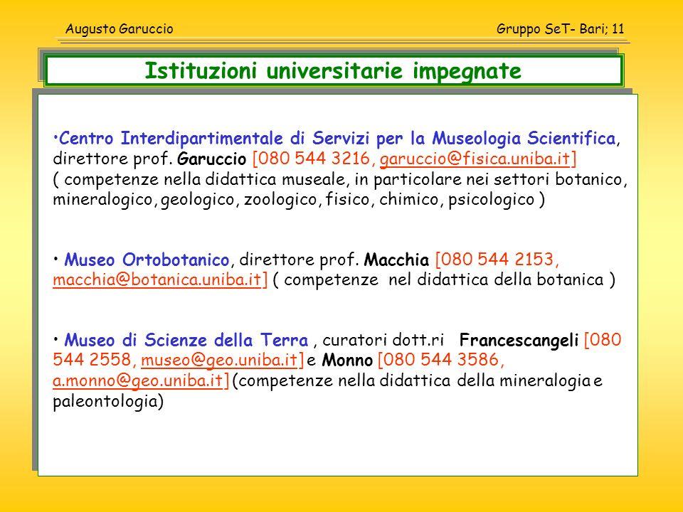 Istituzioni universitarie impegnate