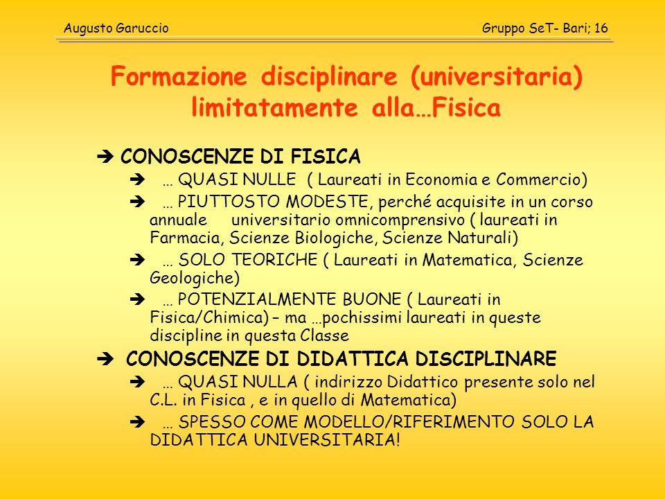 Formazione disciplinare (universitaria) limitatamente alla…Fisica