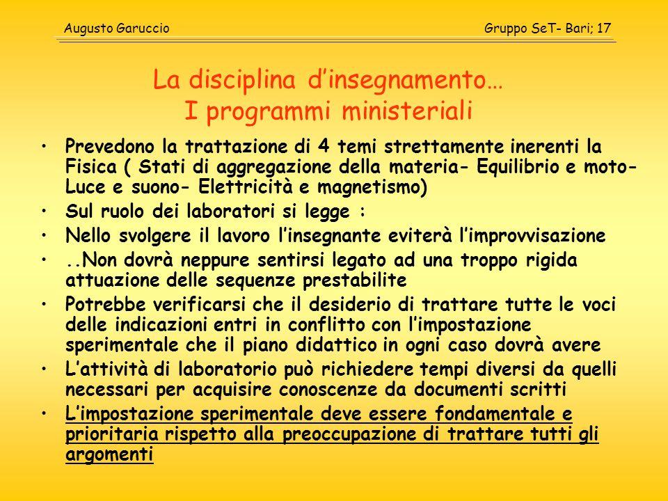 La disciplina d'insegnamento… I programmi ministeriali