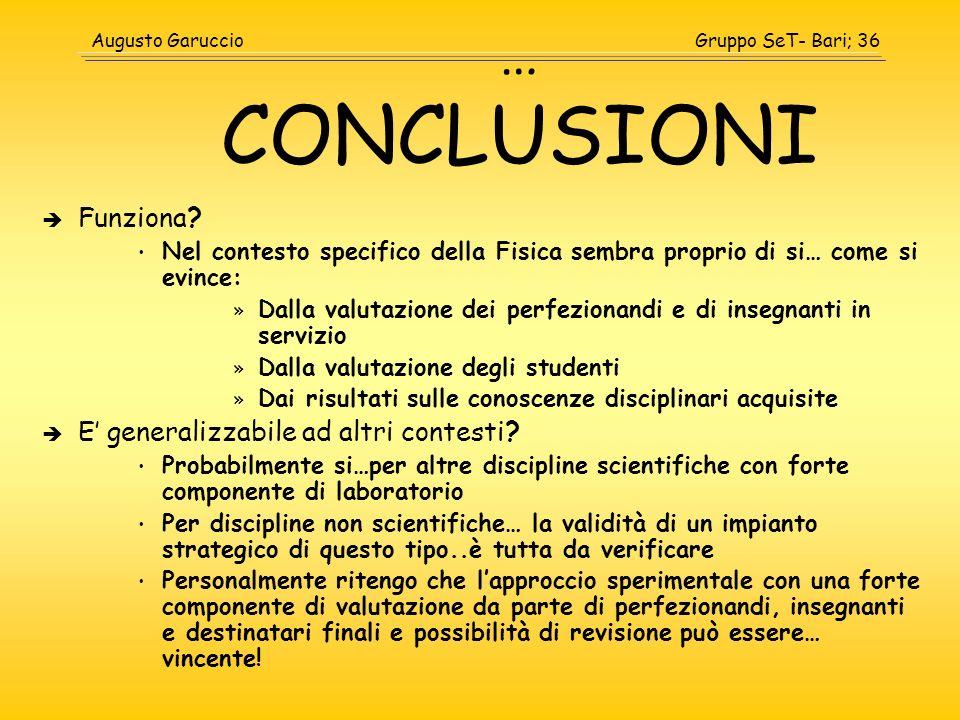 … CONCLUSIONI Funziona E' generalizzabile ad altri contesti