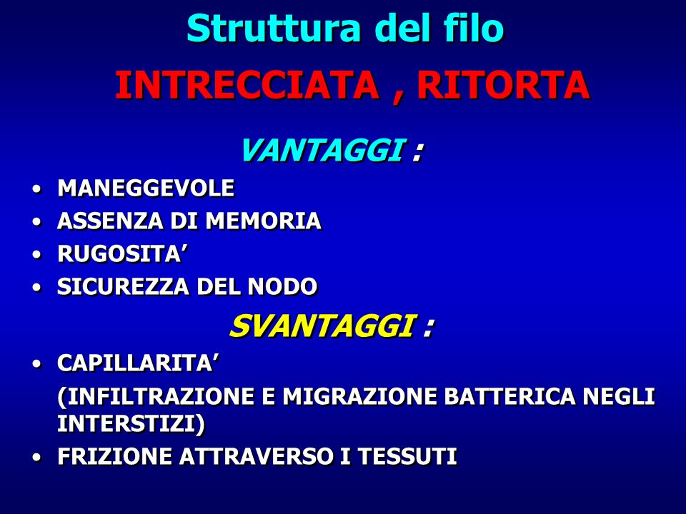 Struttura del filo INTRECCIATA , RITORTA
