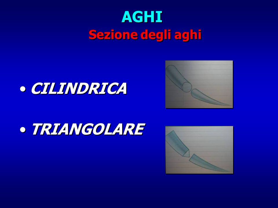 AGHI Sezione degli aghi CILINDRICA TRIANGOLARE