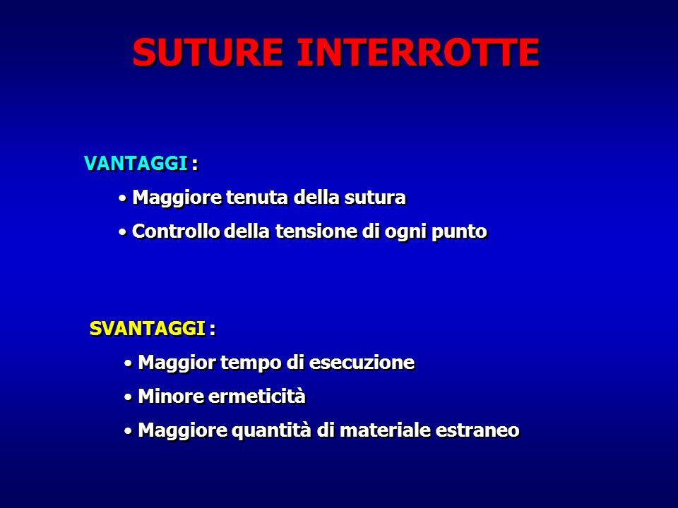 SUTURE INTERROTTE VANTAGGI : Maggiore tenuta della sutura