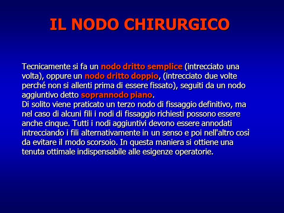 IL NODO CHIRURGICO Tecnicamente si fa un nodo dritto semplice (intrecciato una. volta), oppure un nodo dritto doppio, (intrecciato due volte.