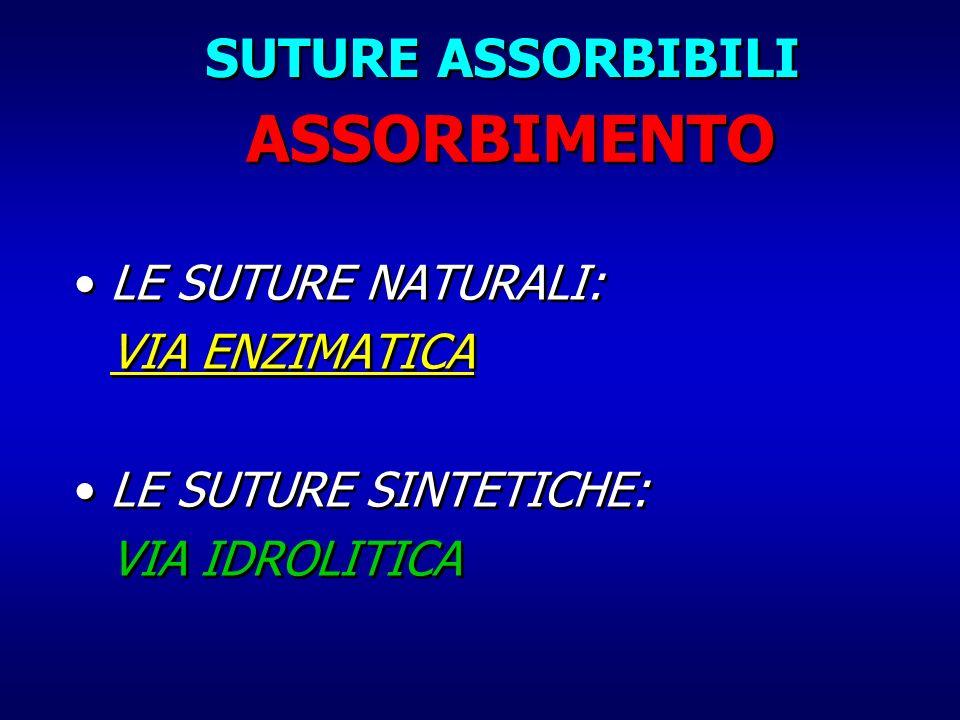 ASSORBIMENTO SUTURE ASSORBIBILI LE SUTURE NATURALI: VIA ENZIMATICA