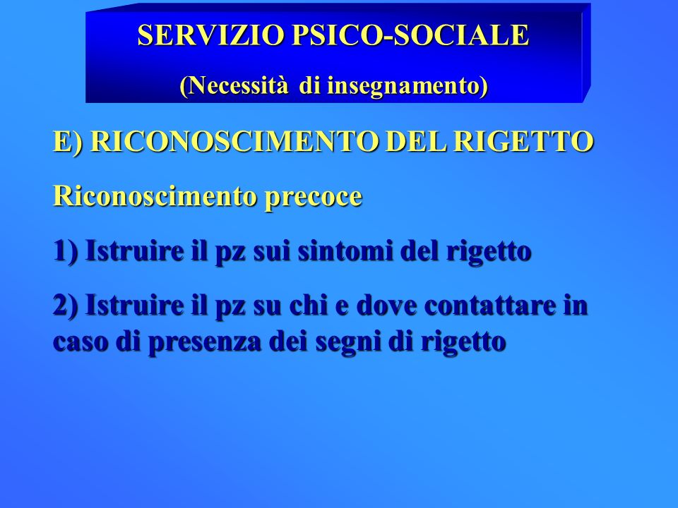 SERVIZIO PSICO-SOCIALE (Necessità di insegnamento)