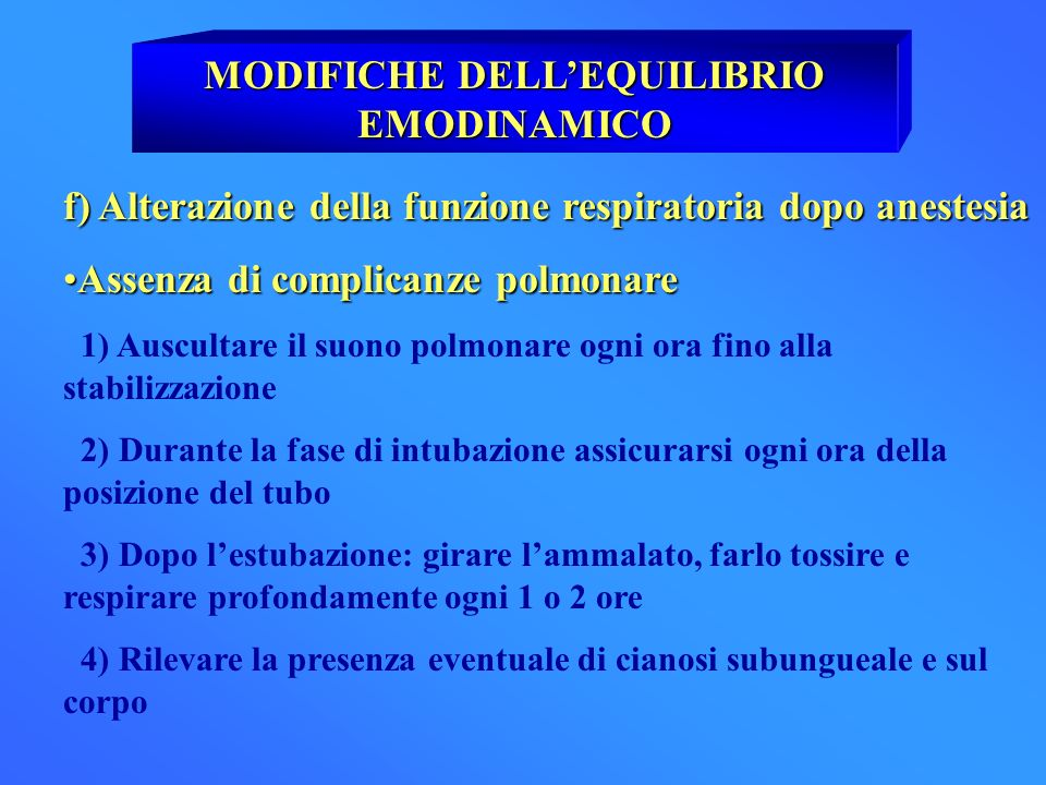 MODIFICHE DELL'EQUILIBRIO EMODINAMICO