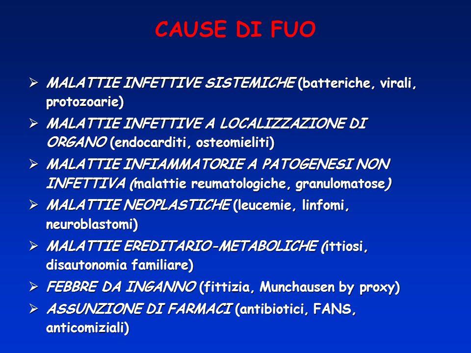 CAUSE DI FUO MALATTIE INFETTIVE SISTEMICHE (batteriche, virali, protozoarie)