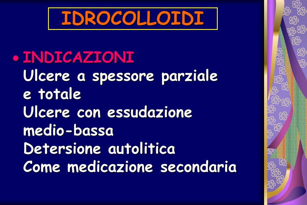 IDROCOLLOIDI INDICAZIONI Ulcere a spessore parziale e totale Ulcere con essudazione medio-bassa Detersione autolitica Come medicazione secondaria.
