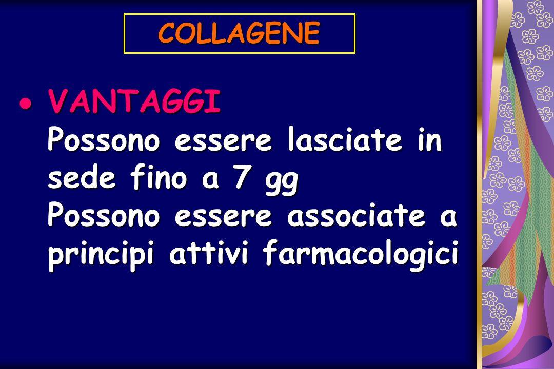 COLLAGENE VANTAGGI Possono essere lasciate in sede fino a 7 gg Possono essere associate a principi attivi farmacologici.