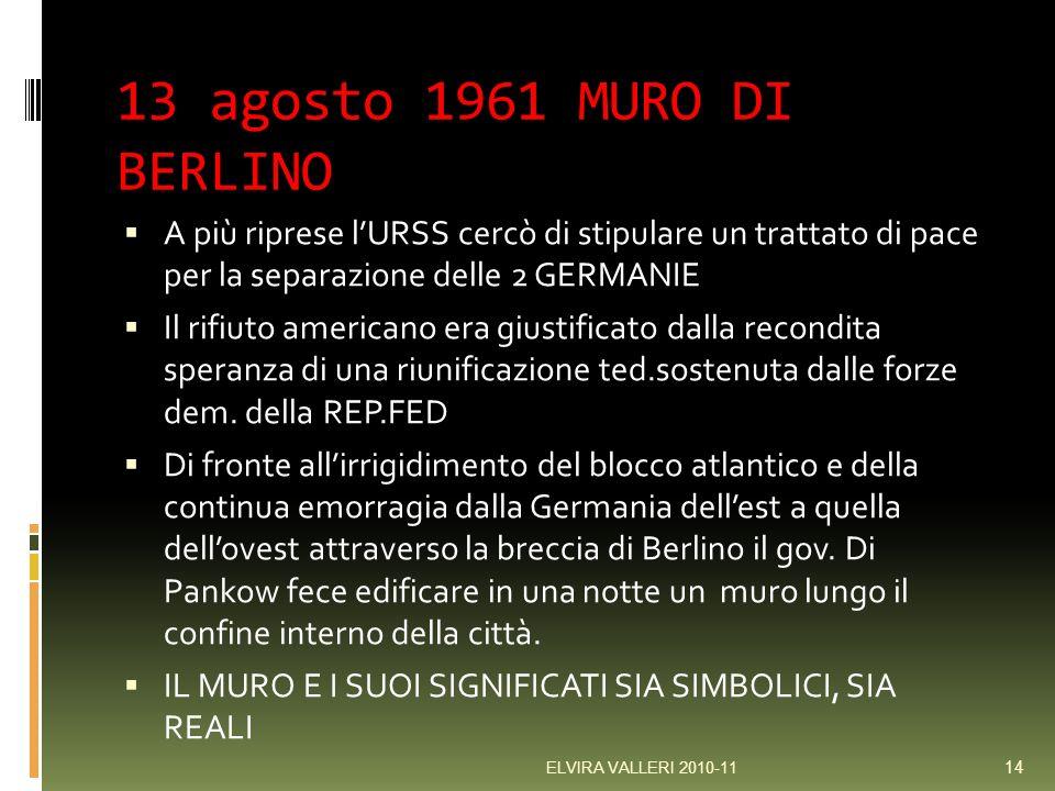 13 agosto 1961 MURO DI BERLINO A più riprese l'URSS cercò di stipulare un trattato di pace per la separazione delle 2 GERMANIE.