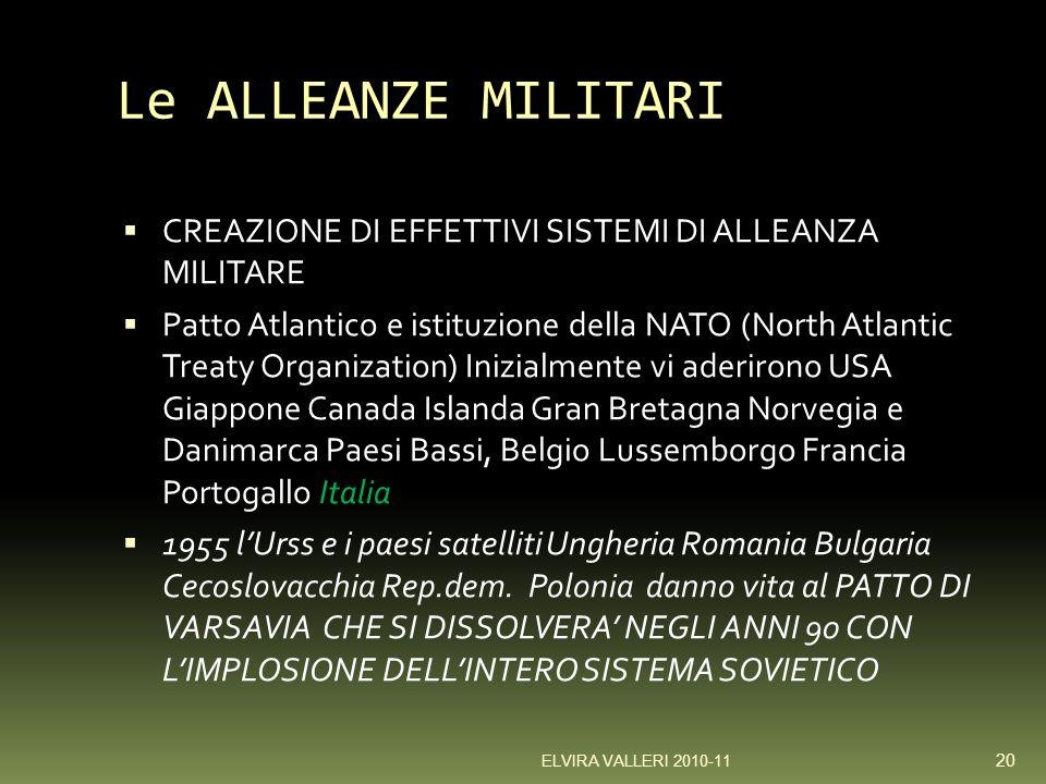 Le ALLEANZE MILITARI CREAZIONE DI EFFETTIVI SISTEMI DI ALLEANZA MILITARE.