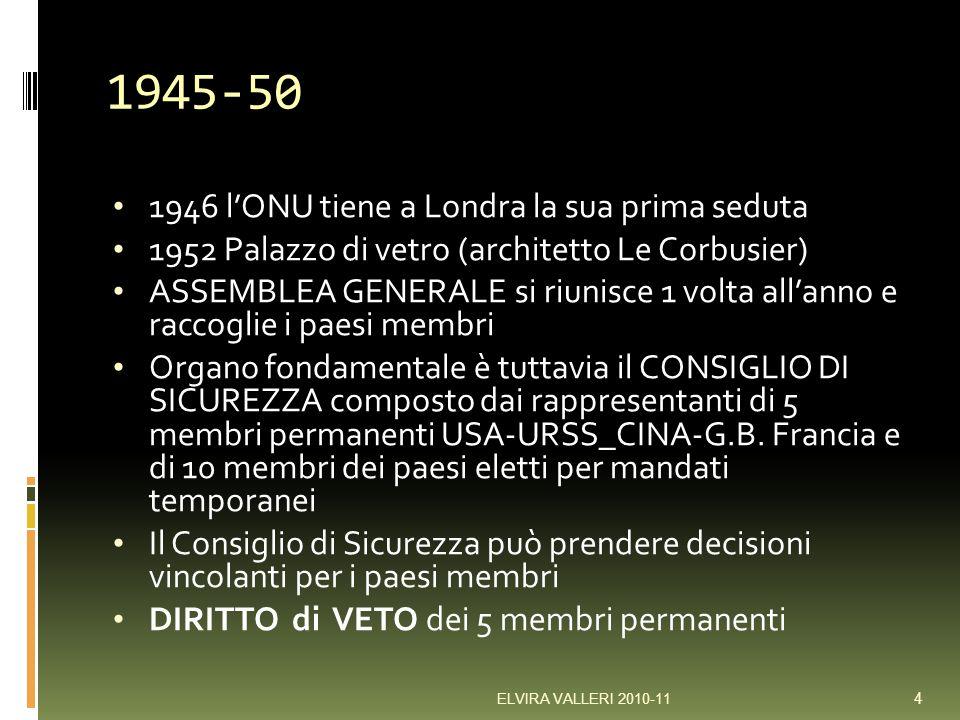 1945-50 1946 l'ONU tiene a Londra la sua prima seduta