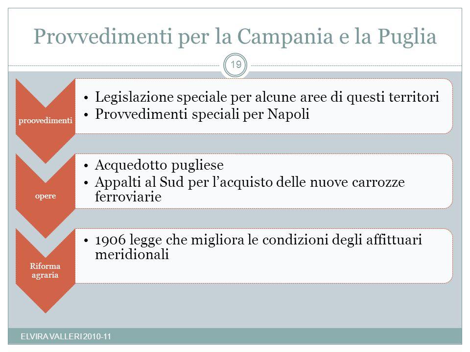 Provvedimenti per la Campania e la Puglia