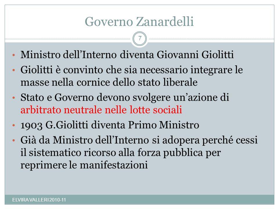 Governo Zanardelli Ministro dell'Interno diventa Giovanni Giolitti